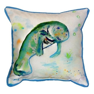 Betsy's Manatee Multicolor Polyester 18-inch x 18-inch Indoor/Outdoor Throw Pillow