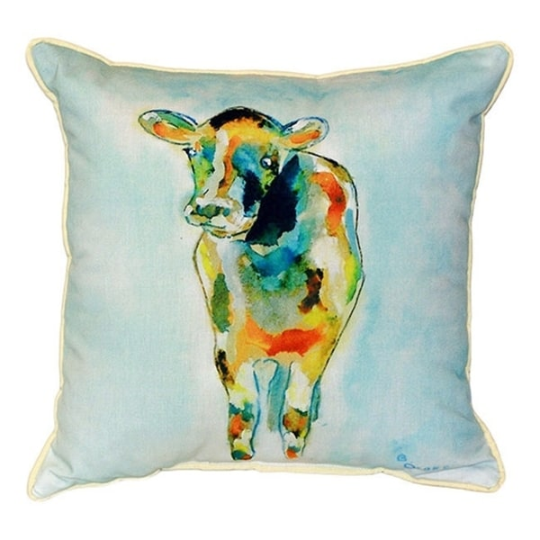 Betsy Drake Betsy's Cow Multicolor Polyester 22-inch x 22-inch  Indoor/Outdoor Throw Pillow