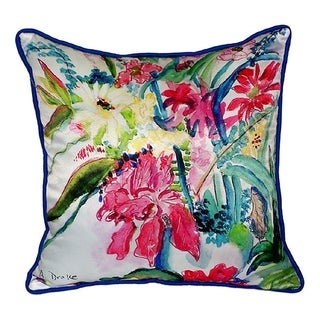 Betsy Drake Interiors Multicolored Floral Polyester 22-inch Throw Pillow