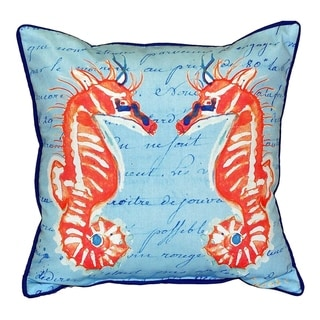 Betsy Drake Coral Sea Horses Blue Multicolor Polyester 22-inch x 22-inch Throw Pillow