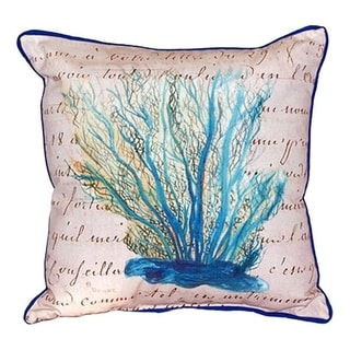Betsy Drake Interiors Blue Coral Beige Multicolored Polyester 18x18 Throw Pillow
