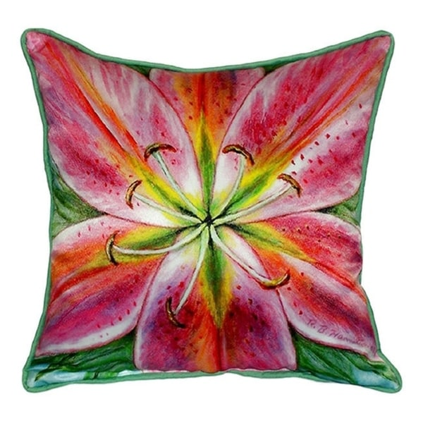 Pink Lily Multicolored Indoor/Outdoor Square Throw Pillow