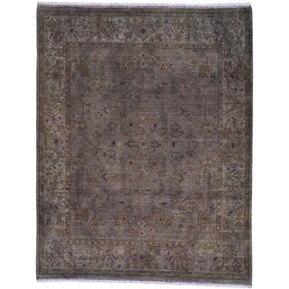 Over Dyed Distressed Traditional Purple Beige Area Rug
