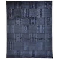 Black Hand Knotted Modern Nepali Wool and Silk Rug (8' x 10')