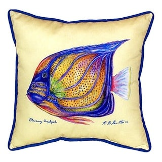 Betsy Drake Sailfin Tang Yellow Multicolor Polyester 18-inch x 18-inch Indoor/Outdoor Throw Pillow