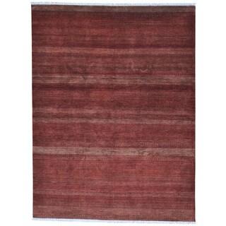 Burgundy Hand Knotted Modern Grass Design Gabbeh Rug (8' x 10'5)