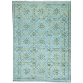 Blue Modern Arts and Crafts Pure Wool Hand Knotted Rug