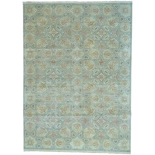 Grey Arts and Crafts Pure Wool Hand Knotted Rug (8'10 x 12'3)
