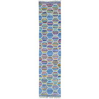 Multicolor Multicolored Hand Woven Flat Weave Kilim Runner Rug (2'7 x 11'3)