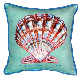 Teal Polyester 18-inch x 18-inch Scallop Indoor/Outdoor Throw Pillow