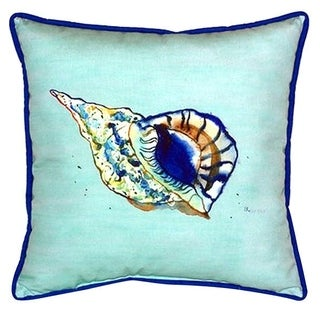 Betsy Drake Shell Teal Multicolor Polyester 18-inch x 18-inch Indoor/Outdoor Throw Pillow