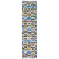 Multicolor Flat Weave Kilim Cotton and Sari Silk Runner Rug