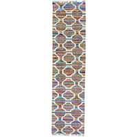 Multicolor Flatweave Kilim Runner Cotton and Sari Silk Handwoven Rug