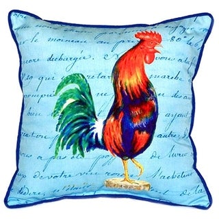 Blue Rooster Script Multi-color Polyester Indoor/Outdoor Throw Pillow