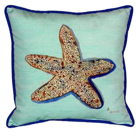 Betsy Drake Starfish Teal Polyester 22-inch x 22-inch Indoor/Outdoor Throw Pillow