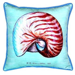 Nautilus Teal Polyester 18-inch x 18-inch Indoor/Outdoor Throw Pillow