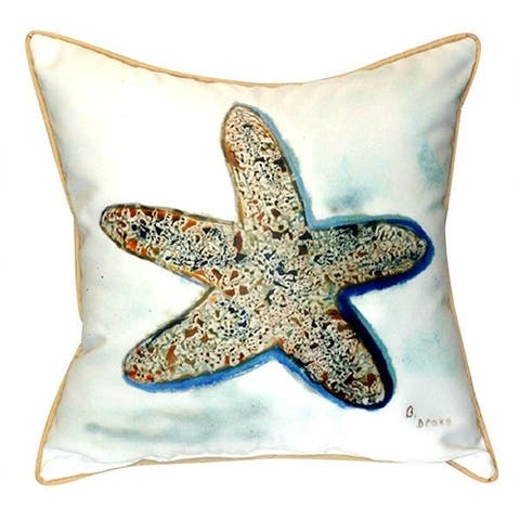 Betsy Drake Starfish Polyester 22-inch x 22-inch Indoor/Outdoor Square Throw Pillow