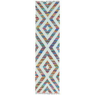 Multicolor Cotton and Sari Silk Runner Flat Weave Kilim Rug (2'7 x 9'10)