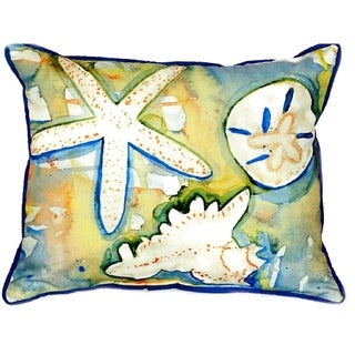 Betsy Drake Beach Treasures Multicolored Polyester 20-inch x 24-inch Indoor/Outdoor Throw Pillow