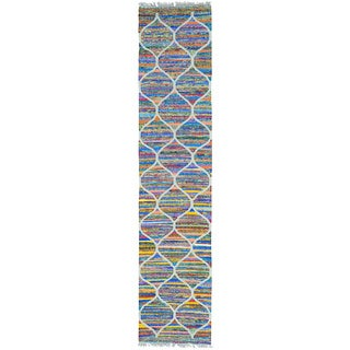 Multicolor Hand Woven Kilim Cotton and Sari Silk Runner Rug (2'7 x 12')