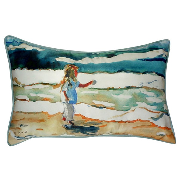 Betsy Drake Girl at the Beach 16-inch x 20-inch Throw Pillow