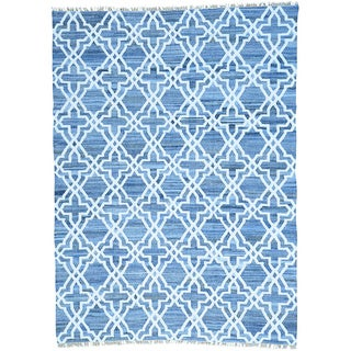 Blue Flat Weave Kilim Denim Jeans Cotton and Sari Silk Rug (9' x 12'3)