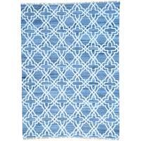 Blue Flat Weave Kilim Denim Jeans Cotton and Sari Silk Rug