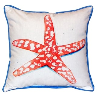 Betsy Drake Coral Starfish 18-inch x 18-inch Indoor/Outdoor Throw Pillow