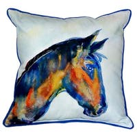 Blue Horse 18-inch x 18-inch Indoor/Outdoor Throw Pillow