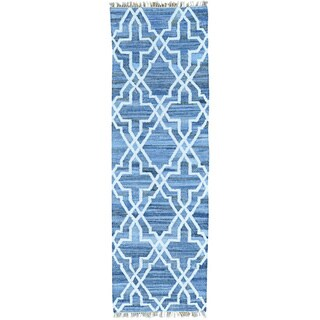 Blue Runner Denim Jeans Kilim Cotton and Sari Silk Rug (2'8 x 8'2)