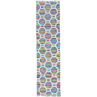 Multicolor Colorful Flat Weave Kilim Runner Cotton and Sari Silk Rug (2'7 x 10'2)