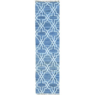 Blue Denim Jeans Kilim Cotton and Sari Silk Runner Rug (2'7 x 10')