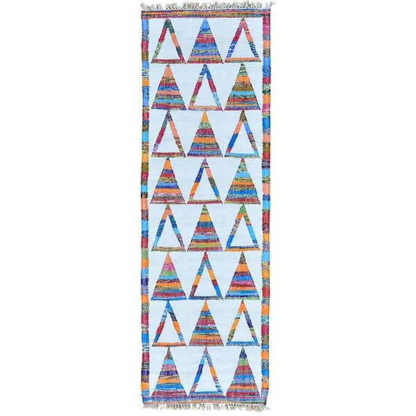 Ivory Ivory Flat Weave Kilim Runner Hand Woven Rug (2'7 x 7'10)