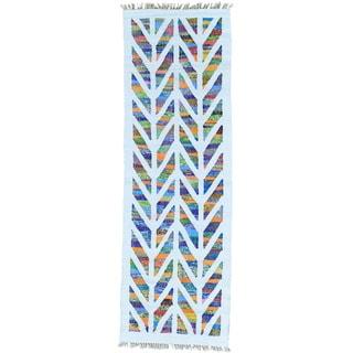 Ivory Cotton and Sari Silk Kilim Runner Hand Woven Rug (2'7 x 8')