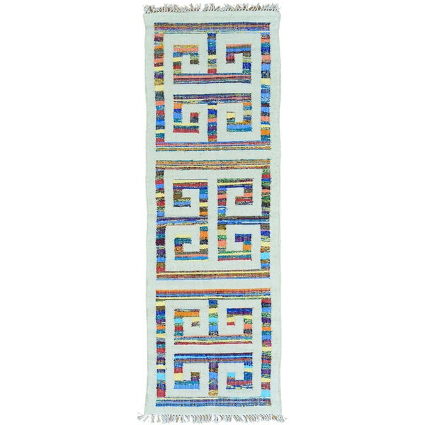 Multicolor Flat Weave Kilim Runner Cotton and Sari Silk Rug - 2'7 x 8'