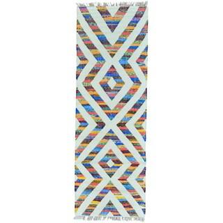 Multicolor Runner Cotton and Sari Silk Flatweave Kilim Handwoven Rug (2'7 x 7'10)