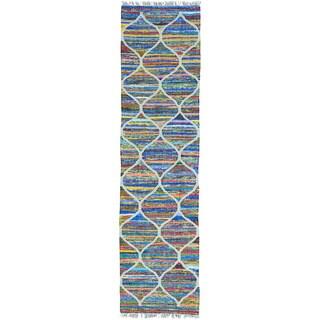Multicolor Runner Hand Woven Kilim Cotton and Sari Silk Rug (2'7 x 10')