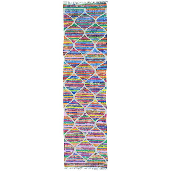 Multicolor Cotton and Sari Silk Kilim Hand Woven Runner Rug (2'7 x 9'10)
