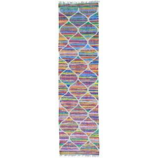 Multicolor Cotton and Sari Silk Kilim Hand Woven Runner Rug (2'7 x 9'10)