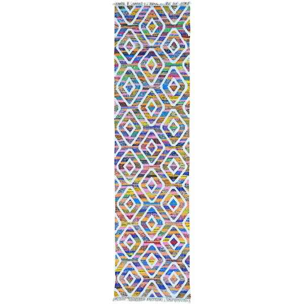 Multicolor Colorful Flat Weave Kilim Runner Cotton and Sari Silk Rug (2'7 x 10')