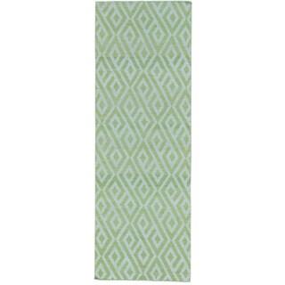 Ivory Reversible Kilim Runner Flat Weave Hand Woven Rug (2'8 x 7'10)