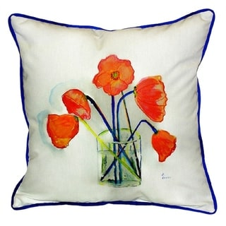 Poppies in Vase 18-inch x 18-inch Throw Pillow