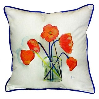 Poppies in Vase Multicolored Polyester Indoor/Outdoor Throw Pillow
