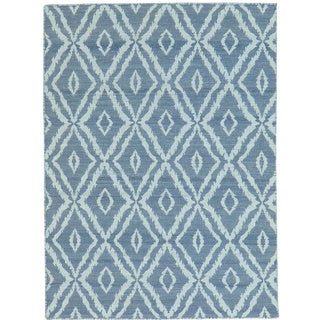 Grey Reversible Kilim Pure Wool Hand Woven Rug (4'3 x 6')