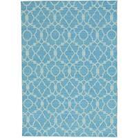 Blue Flat Weave Reversible Kilim Hand Woven Pure Wool Rug - 5'1 x 7'7