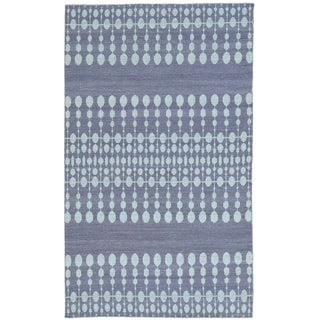 Purple Flat Weave Reversible Kilim Hand Woven Pure Wool Rug (5' x 8'3)