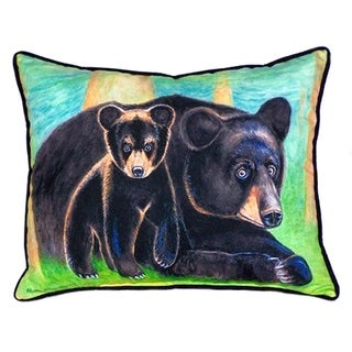Betsy Drake Bear and Cub Multicolor Polyester 16-inch x 20-inch Throw Pillow