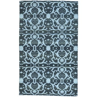 Black Hand Woven Flat Weave Reversible Kilim Pure Wool Rug (5'1 x 8'2)