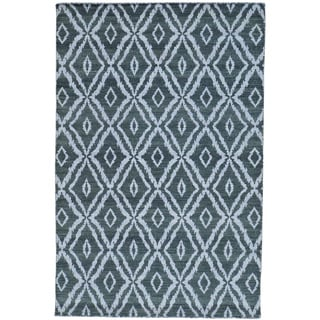 Grey Hand Woven Flat Weave Kilim Reversible Pure Wool Rug (5'1 x 7'9)