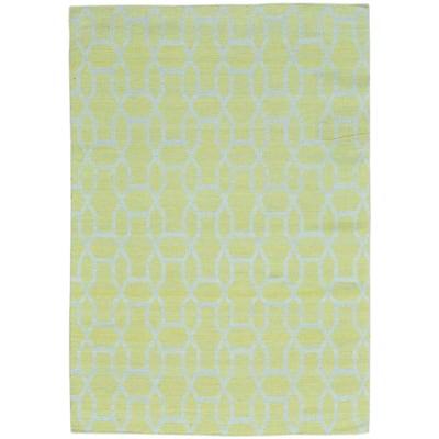 Yellow Hand Woven Flat Weave Reversible Kilim Pure Wool Rug
